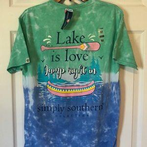 Simply Southern Tie Dye Love is Lake Tee Shirt NWT